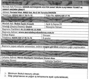 İşkur belediye iş ilanları